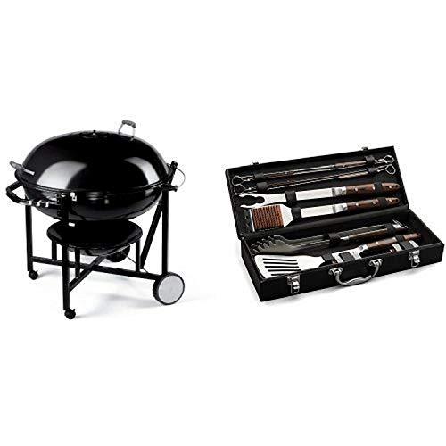 Weber 60020 The Ranch Charcoal Kettle Grill with Cuisinart Grilling Set