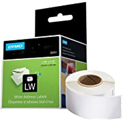DYMO LW Mailing Address Labels for LabelWriter Label Printers, White, 1-1/8'' x 3-1/2'', 2 rolls of 130 (30251)