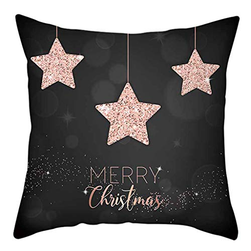 Shan-S Merry Christmas Cotton Linen Square Throw Pillow Case Decorative Soft Square Letter Flowers Cushion Cover Pillowcase for Outdoor Sofa Bedding Car Chair Home Decor 18 X18 Inch