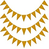 MerryNine Triangle Flag Bunting Banner, 3 Pack 30 Feet Vintage Style Pennant Banner for Wedding, Baby Shower, Event & Party Supplies 45pcs Flags (Triangle Flag - Gold Glitter)