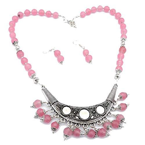 SET DE PENDIENTES COLLAR DE CUENTAS DE PLAN rosa 18 'de largo chapado en plata esterlina hecha a mano joyería de arte tienda de variedad completa