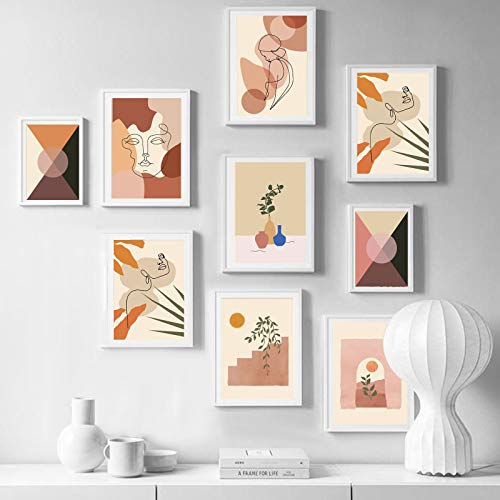 Whaline 6 Pack Mini Abstract Line Art Poster Minimalist Wall Art Prints Waterproof Woman Face Drawing Modern Aesthetic Room Decor for Photo Frame Girls Women Home Bedroom College Dorm, 6.48