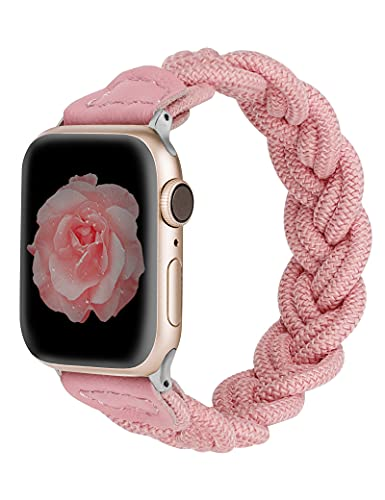 Wearlizer Compatible with Apple Watch Bands 38mm 40mm Slim Elastic Braided Women Loop Strap Wristband Stretchy Woven Replacement Bracelet Accessories for iWatch Series SE 6 5 4 3 2 1 (Pink, S)