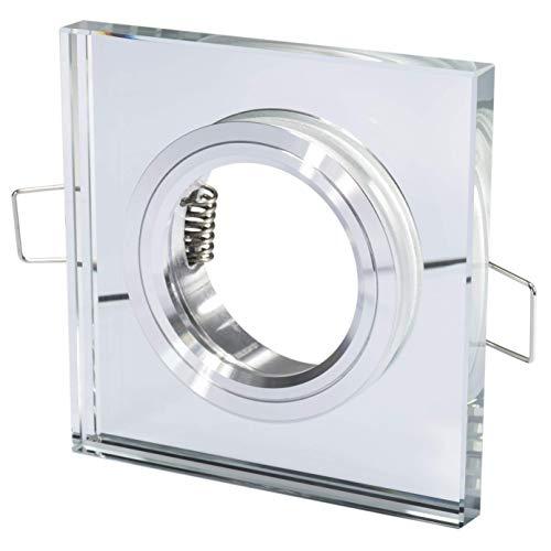 Glas Einbaustrahler + GU10 230Volt & GU5.3 MR16 12Volt Leuchtmittelfassung - Set - quadratisch - für 50mm Leuchtmittel