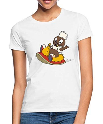 Sandmännchen Pittiplatsch Fliegt Auf Pantoffel Frauen T-Shirt, L, Weiß
