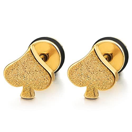 Oro Satinado Picas Pendientes de Hombre Mujer, Aretes, Acero Inoxidable, Cierre Tornillo, Unico, 2 piezas