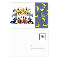 カジノのダイスポーカーチップのイラスト バナナのポストカードセットサンクスカード郵送側20個