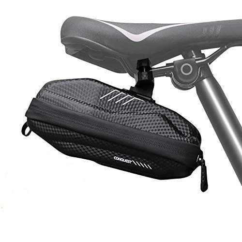 CS Force Bike Seat Bag, 3D Hard Shell Cycling Wedge Pack, Waterproof Bike Saddle Bag Under Seatwith LED Taillight & Reflective Stripes for Mountain Road Bicycles