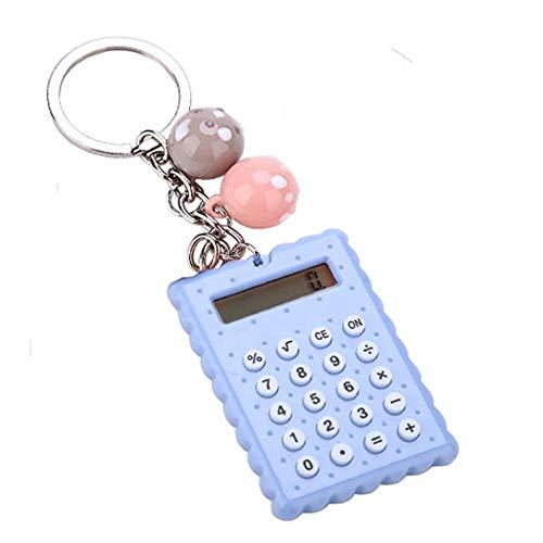 Mini-kalkylator, bärbar fickgodsfärg PVC 8 ??siffror elektronisk miniräknare med silikonknappar och nyckelringsspänne för barnstudenter(Blue)