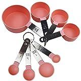 Cucharas Medidoras,Juegos de 8 Cucharas Medidoras y Tazas de Medición Plastico con Mango De Acero Inoxidable para Medir Líquidos y Los Ingredientes