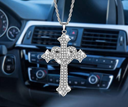 Bling Car Rearview Mirrors Pendant Alloy White Cross, Car Interior Accessories for Women,Jesus Crystal Ornament Double-sided Diamond Car Accessories (White heart shape)