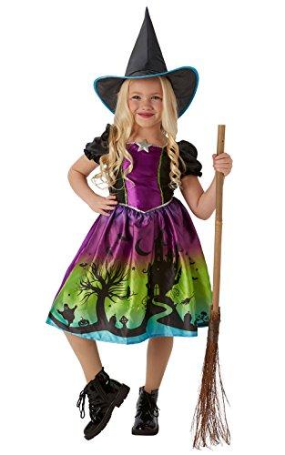 Ombre, costume da Halloween per bambine, motivo da strega, colore arcobaleno