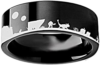 Thorsten Star Wars New Hope Jawas Jabba Palace R2D2 CP3O Ring Flat Black Tungsten Ring 10mm Wide Wedding Band from Roy Rose Jewelry