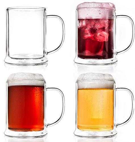 Creano Bicchiere da Birra a Doppia Parete, Vetro Termico Bicchiere da Birra, Boccale da Birra | 4X 500ml