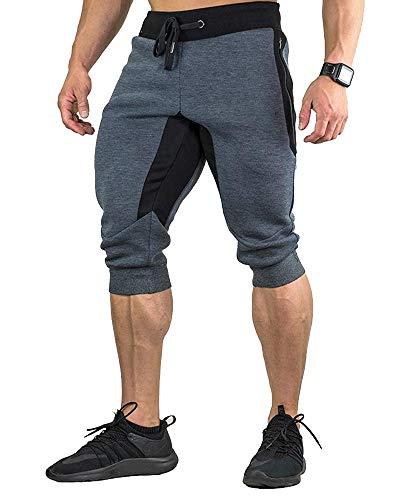 Foluton Herren 3/4 Jogginghose Sporthose Baumwolle Lässige Shorts mit Jogger Sport Cropped Pants mit Taschen