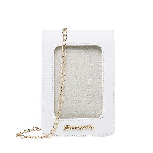 Universal Handy Umhängetasche, 2 in 1 Doppelschicht Handtasche Geldbörse Handy Tasche für Frauen Mädchen Kinder Touchscreen Funktion Leder Mobile Bag Protective Case mit Straps (Weiß)