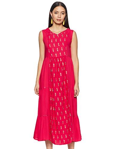 [Apply Coupon] Indigo Women's Cotton Bubble Hem Maxi Dress (AW20/IND-1473_Fuchsia_L)