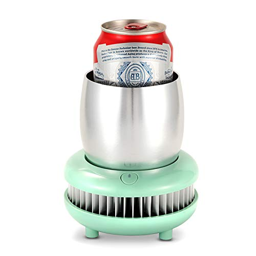 FUYY Tragbare Kühlbecher Semiconductor Cooling Smart Device Getränk Bier Cola Für Home Office (380 Ml),Green