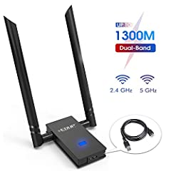 【Excellent Wi-Fi speed】the Wi-Fi Sub 1300Mbps Wi-Fi speeds with 5GHz(867Mbps) and 2. 4Ghz(400mbps) bands. Performance to reduce freezing and lags when streaming and gaming. Ultra-fast AC1300 wireless adapter speed with 802. 11AC. 【Easy to install 】fo...