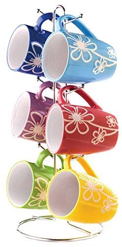 Home Basics 6 Piece Daisy Floral Ceramic 11 Ounce Mug Set For Coffee, Tea, Hot Chocolate etc. with...