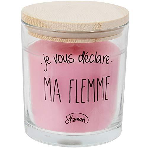 Le Fabuleux Shaman doftljus i glas, med trälock, doftblomma, 8 x 10 cm Je Vous Déclare Ma Flemme Rose