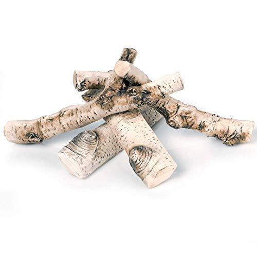 GLOBMETAL Hochwertiges Premium Keramikholz Birke Holz Deko Gelkamin Bio-Ethanolkamin Wandkamin 4-teilig