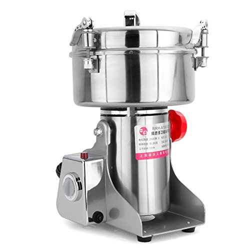 RRH 1000G Swing Type Grain Mill Electric Spice Nut and Coffee Grinder High Speed 25000 RPM Stainless Steel 2800W Powder Machine 50-300 Mesh, for Herbs Corn Sesame Soybean Pepper Bait Feed