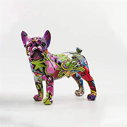 Nordic Resin Painted French Bulldog Figurine Home Decoration Sculpture Modern Art Decorative Statue Living Room Bedroom Decor