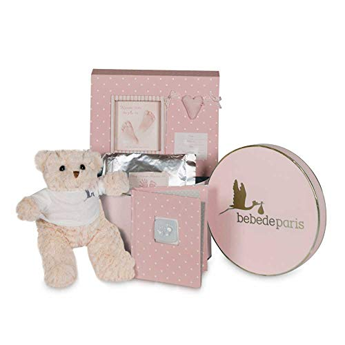 BebeDeParis | Regalos Originales para Bebés Recién Nacidos | Canastilla Bebé Happy Recuerdos | Set de Huellas Corazón Osito| 3-6 Meses (Rosa)