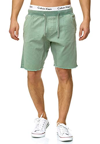 Indicode Herren Carver Chino Shorts aus 100% Baumwolle | Kurze Hose Regular Fit Bermudas Sommerhose Knielang Herrenshorts Destroyed Short Men Pants Chinohose kurz für Männer Blue Surf XL