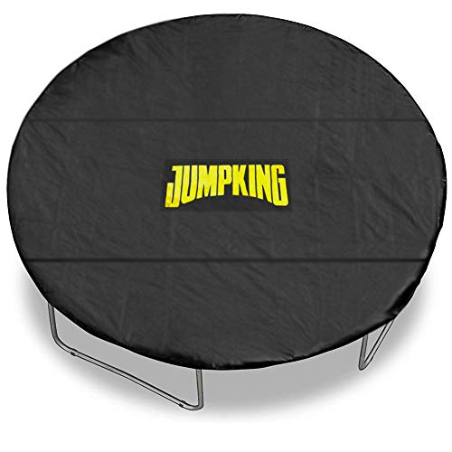 Lightweight Trampoline Cover, Black Trampoline Weather Cover Protection from Sun, Wind, Leaves, Snow, Ice - with Adjustable Straps, Reinforced Stitching, Leg Notches (12 Foot Round Trampoline Cover)