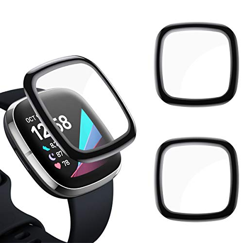 EZCO Screen Protector Compatible with Fitbit Sense/Versa 3[2 Pack] 3D Full Coverage Curved Edge Screen Protective cover for Sense/Versa 3 Smartwatch