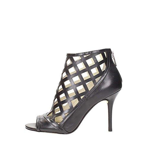 Michael Kors Chaussure Escarpins Femme Yvonne Open Toe Bootie Black Leather Cuir