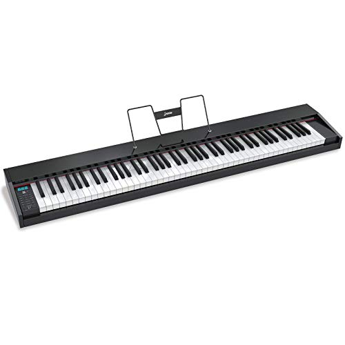 LAGRIMA LAG-600 Full Size Key Portable Digital Piano, 88 Key Electric Keyboard Piano with Bluetooth, Sustain Pedal, Power Supply, Music Stand for Beginner/Adults, Black