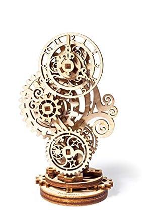 UGEARS Steampunk Reloj - 3D Rompecabezas de Madera - Juego de construcción de Reloj de Madera Modelo mecánico - Kit Modelo de Bricolaje para Adultos Niños y niños - Hermosos Muebles para el hogar