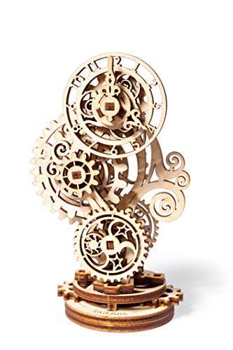 UGears Steampunk Clock 3D Wooden Puzzle - Wooden Clock Mechanical Model Construction Set - DIY Model Kits for Adults Teens and Children - Ideal Christmas and New Year Gift - Gorgeous Home Décor