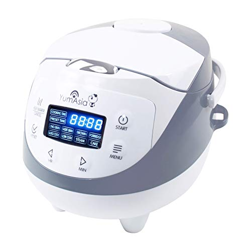 Yum Asia Panda Mini cuiseur à riz avec bol en céramique et Advanced Micom Fuzzy Logic (3,5 tasses, 0,63 litre), 4 fonctions de cuisson du riz, 4 fonctions multicuiseur, écran LED, 220-240V