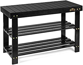 Homemaid Living Bamboo 3 Tier Shoe Rack Bench, Premium Shoe Organizer or Entryway Bench, Perfect for Shoe Cubby, Entry Bench, Bathroom Bench, Entryway Organizer, Hallway or Living Room(Black)