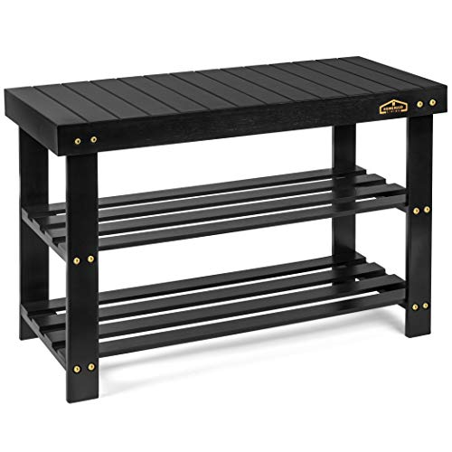 Homemaid Living Bamboo 3 Tier Shoe Rack Bench Premium Shoe Organizer or Entryway Bench Perfect for Shoe Cubby Entry Bench Bathroom Bench Entryway Organizer Hallway or Living RoomBlack