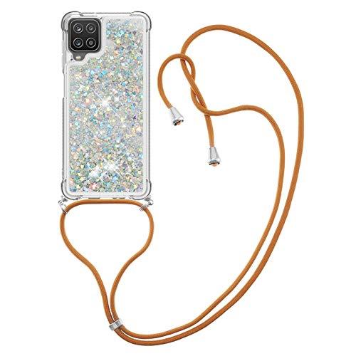 HülleLover Handykette Handyhülle für Samsung A12 5G, Glitzer Flüssig Bewegende Treibsand Transparent Silikon Hülle mit Kordel zum Umhängen Necklace Hülle Band für Samsung Galaxy A12 5G, Silber