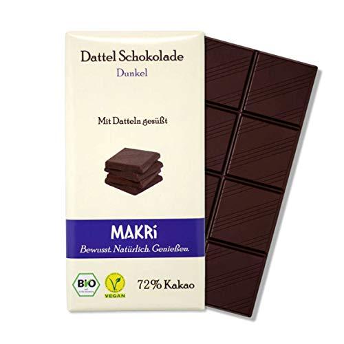 MAKRi Dattel Schokolade - Dunkel 72% Kakao | Vegane Schokolade mit Datteln gesüßt | Ohne raffinierten Zucker | Laktosefrei | Bio Zartbitter (1x 85g)