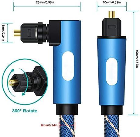 Cable de Audio /ángulo de 90/º, Adaptador de Cable /óptico Digital para Audio de TV Victoy 0,5 m Azul