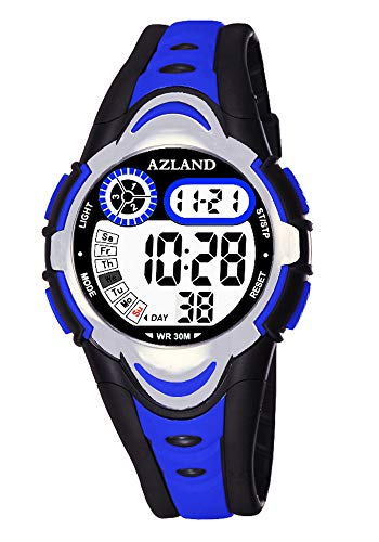 AZLAND Multiple Alarms Waterproof Kids Watches Boys Girls Digital Sports Teenagers Wristwatch (3 Alarms, for Age 4-12, Blue)