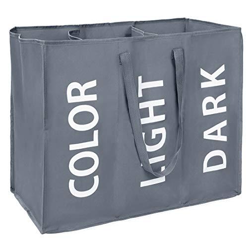 Eono Amazon Brand Großen Faltbare Wäschekörbe mit 3 Abteil, Zusammenklappbaren Wäschesäcke, Kleider Tasche (Dunkelgrau) EINWEG