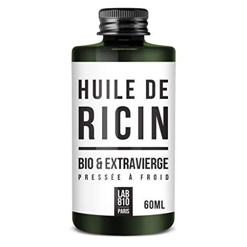 HUILE DE RICIN BIO 100% Pure et Naturelle. Pressée à Froid, Extra Vierge, Accélère la Pousse des Cheveux, Cils et Ongles. Nourrit et Hydrate la Peau et les cheveux. (60ml)