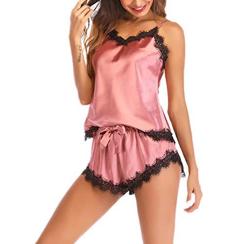 Damen Sexy Spitze Pyjamas Dessous Set Zweiteiliger Schlinge Oberteil Und Shorts Satin...