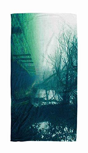 EMMTEEY Bath and Beach Towel,Fantasy Landscape Countryside in Northern Ireland 30x60Inch Microfiber Oversized Large Quick Dry Swimming Pool Towel,Brown Black