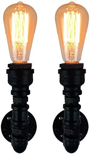 Lámpara industrial, Luz de pared de hierro de hierro forjado vintage de viento industrial (paquete de 2), lámpara de pared creativa retro loft, barra de estilo americano de la pared de la pared, E27 E