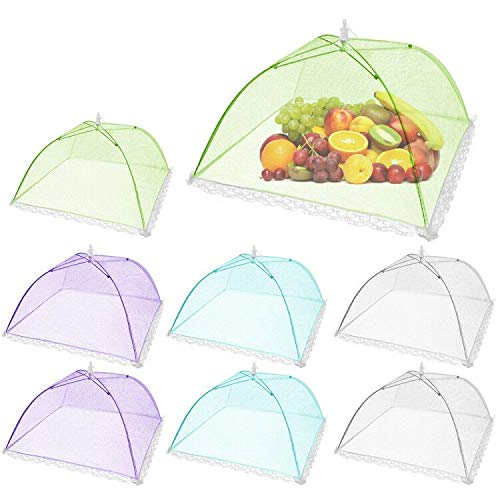 Pop-Up Mesh Screen Food Cover Tent Umbrella, SPANLA 8 Pack Colored Food Cover Net for Outdoors, Screen Tents, Parties Picnics, BBQs, Reusable and Collapsible Reusable and Collapsible,17 Inches