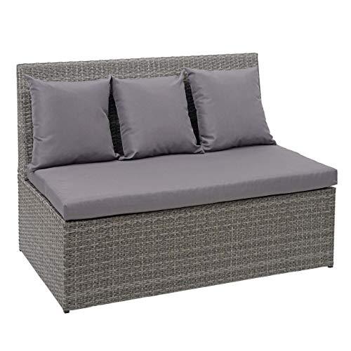 Mendler Poly-Rattan 2er Sofa HWC-G16, Lounge-Gartenbank Sitzbank Sessel, Gastronomie 120cm ~ grau, Kissen dunkelgrau
